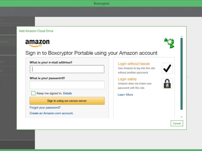 Boxcryptor Portabel bei Amazon Cloud Drive (Screenshot: Secomba)