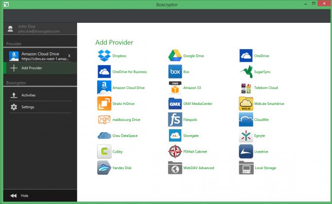 Boxcryptor Portable: Auswahl der Clloud-Provider (Screenshot: Secomba)