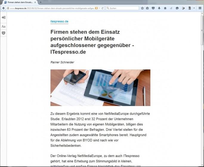 Die Leseansicht im neuen Firefox lässt sich bei geeignten Seiten über das Buchsymbol rechts in der Adressleiste aktivieren (Screenshot: ITespresso).