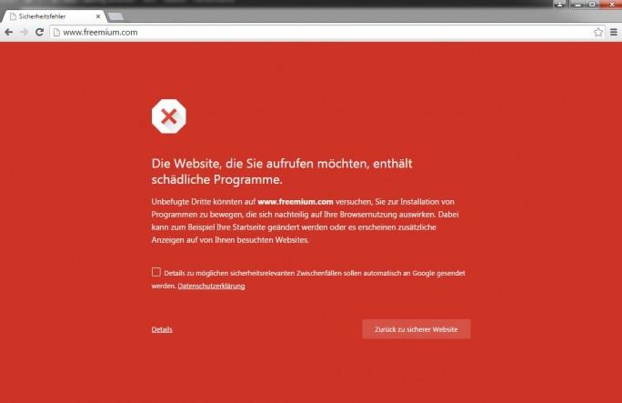 Google macht bei seinem Browser Chrome keinen Hehl aus seiner Einschätzung der Website Freemium.com (Screenshot: ITespresso).