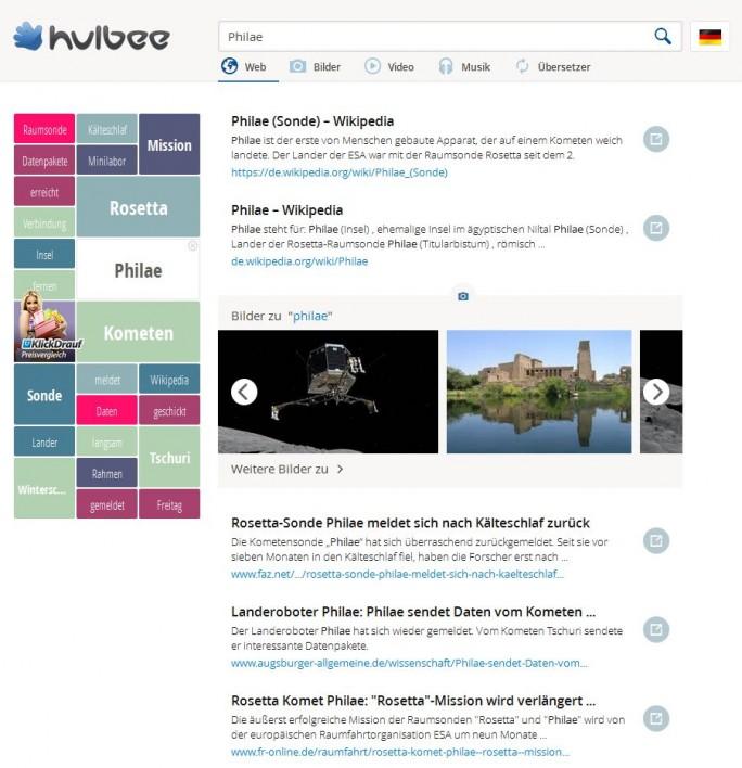Die bei Hulbee.com angezeigten Treffer basieren derzeit noch auf Microsofts Suchmaschine Bing (Screenshot: ITespresso)