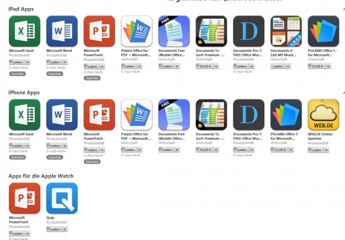 Die Office-Apps gibt es auch für iPhone oder iPad im iTunes Store. Powerpoint läuft sogar auf Apples iWatch (Screenshot: Mehmet Toprak).