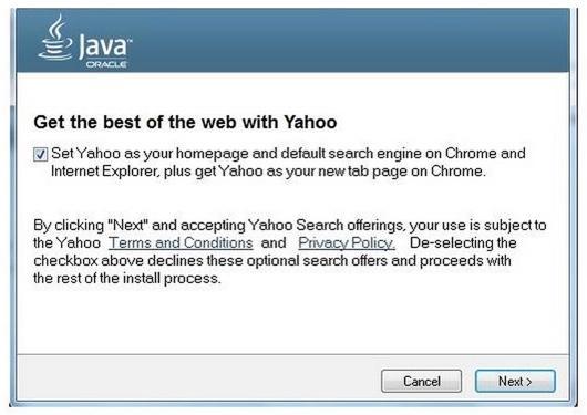 Das Java-Update empfiehlt nun die Yahoo-Suche (Bild: Oracle)