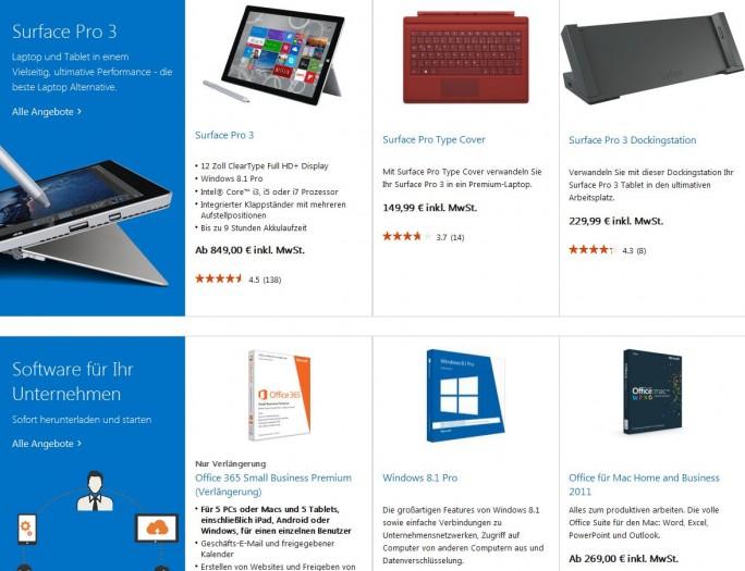 In dem speziell für Firmenkunden konzipierten Bereich seines Online Stores stellt Microsoft die Surface-Rechner und ausgewählte Software in den Vordergrund (Screenshot: ITespresso).