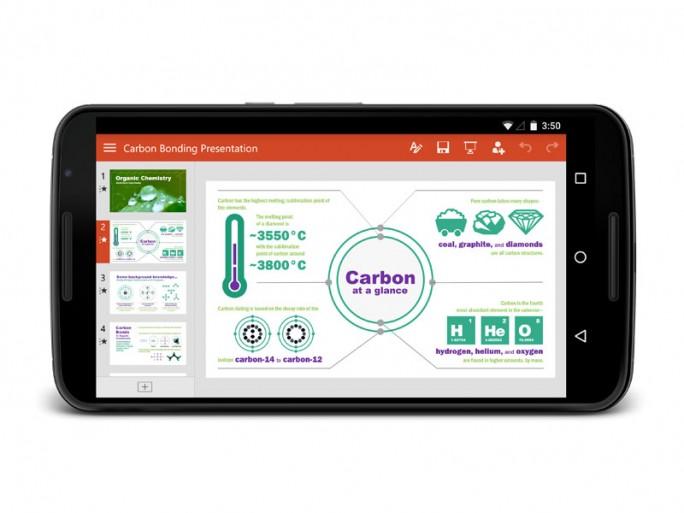 Die Android-Version für Tablets von Microsofts Powerpoint bietet elegante Bedienung und großen Funktionsumfang (Bild: Microsoft).