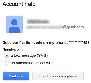 Ausgangspunkt der SMS-Betrugsmasche: Der Kriminelle gibt auf der frei zugänglichen Site des Mail-Anbieters, hier Google, vor, er sei der Kontoinhaber und habe seine Zugangsdaten vergessen (Screenshot: Symantec).