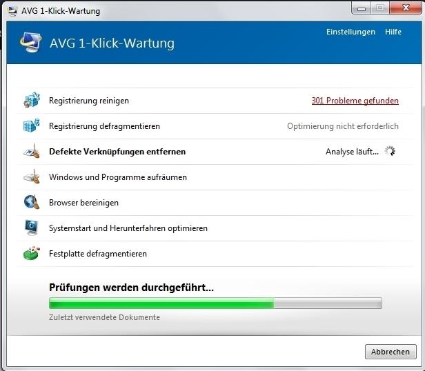 Bei der 1-Klick-Wartung scannt PC Tune Up das System nach Datenmüll, fehlenden Verknüpfungen und Registry-Problemen. (Screenshot: Mehmet Toprak)