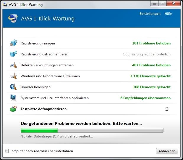 Auf Mausklick versucht das Programm die gefundenen Probleme zu beheben. (Screenshot: Mehmet Toprak)