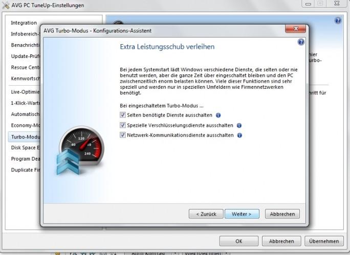 Den sogenannten Turbo-Modus kann der Anwender so konfigurieren, dass selten benötigte Dienste oder Hintergrund-Aktivitäten abgeschaltet werden. (Screenshot: Mehmet Toprak)