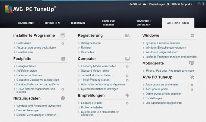 Die komplette Funktionsübersicht von PC Tune Up. (Screenshot: Mehmet Toprak)