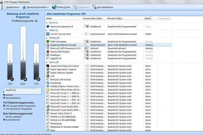 Das Deaktivieren von Programmen - hier bei PC Tune Up -, die beim Booten von Windows automatisch geladen werden, beschleunigt den Windows-Start.  (Screenshot: Mehmet Toprak)