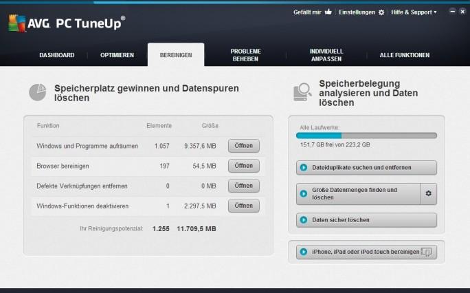 """Im Funktionsbereich """"Bereinigen"""" beseitigt PC Tune Up Datenspuren, nicht benötigte Programme und anderen Datenmüll. (Screenshot: Mehmet Toprak)"""