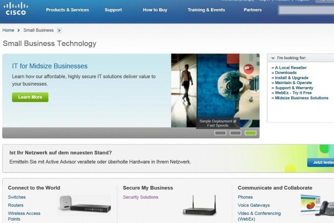 Auch Netzwerkspezialist Cisco präsentiert dem Nutzer der Website oftmals englischsprachige Produktbeschreibungen. (Screenshot: Mehmet Toprak).