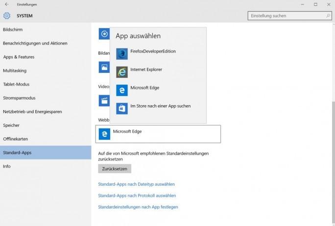 Unter Windows 10 lassen scih die Standardanwendungen unter Einstellungen – System – Standard-Apps festlegen und ändern (Screenshot: ZDNet.de).