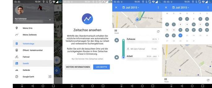 """Google Maps: Zeitachse (Bild: ZDNet.de)"""""""