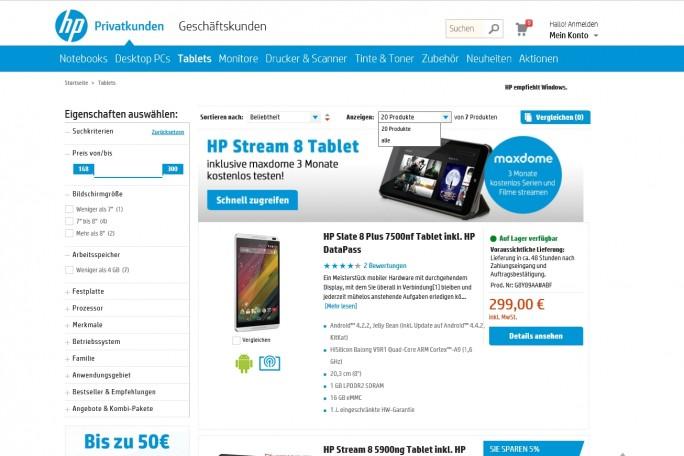 Bei HP landet der Besucher gleich im Online-Shop, auch wenn er nur Informationen zu Produkten sucht (Screenshot: Mehmet Toprak).