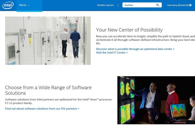 Kein Geld für Übersetzer? Auf der deutschen Homepage von Intel landet der Besucher schnell auf englischsprachigen Seiten (Screenshot: Mehmet Toprak).