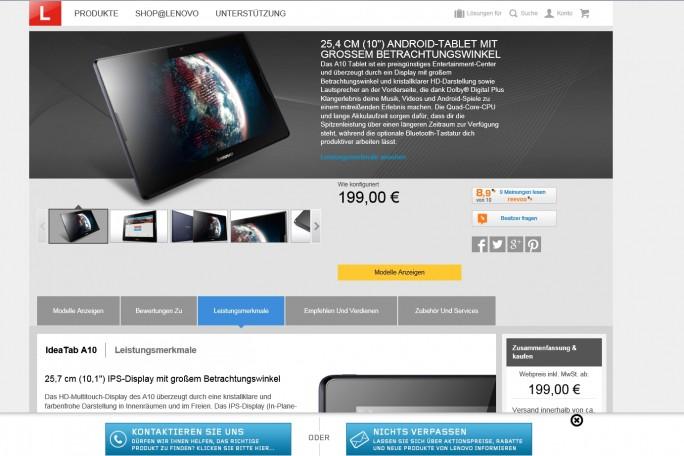 Verschachtelt und nicht sehr übersichtlich: die Produktseiten von Lenovo (Screenshot: Mehmet Toprak).