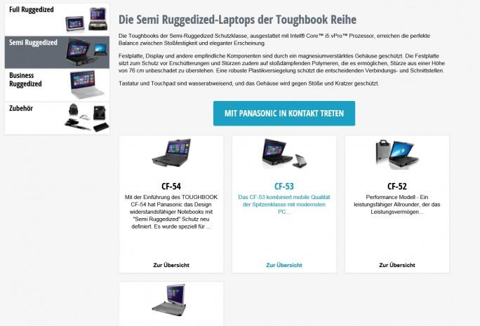 Nicht schick, aber übersichtlich: Panasonics Website für Business-Produkte (Screenshot: Mehmet Toprak).