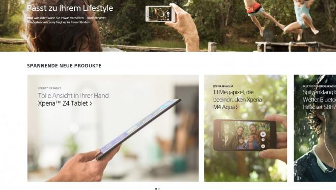 Riesige Fotos und große Leerflächen erschweren die Orientierung auf Sonys Homepage (Screenshot: Mehmet Toprak).