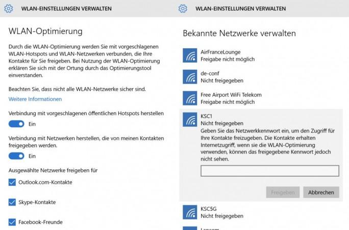Die Freigabe der WLAN-Passwörter erfolgt mit der deutschen Windows-10-Version nicht automatisch (Screenshot: ZDNet.de).