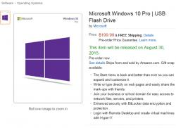 Amazon bietet bereits eine Vorbestellmöglichkeit für Windows 10 auf USB-Sticks (Screenshot: ZDNet.de).