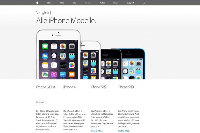Schlicht, schön und übersichtlich: Die Website von Apple zeigt, wie eine bedienfreundliche Website aussehen kann. (Screenshot: Mehmet Toprak)