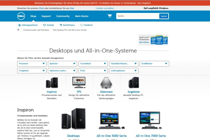 Dells Produktseiten sind recht logisch aufgebaut, wegen der vielen Elemente wirkt die Seite aber nicht besonders übersichtlich (Screenshot: Mehmet Toprak).