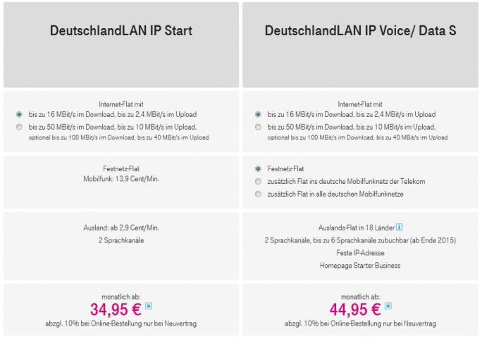 Die beiden neuen, für Firmenkunden konzipierten Anschlusspakete der Deutschen Telekom im Überblick (Screenshot: ITespresso).