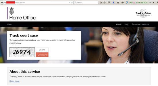 ... oder auch auf der nachempfundenen Site des Justizministeriums (Bild: Trend Micro).