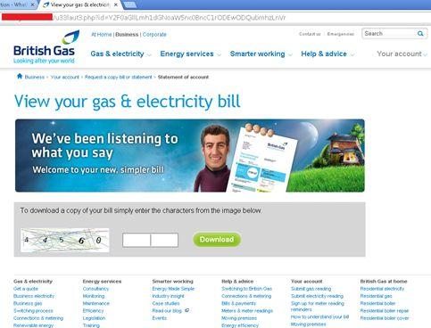 Britische Nutzer wurden etwa auf eineri mitiierten Site des Versorgungsunternehmens Britisch Gas zur Eingabe eines Captchas aufgefordert ..  (Bild: Trend Micro)