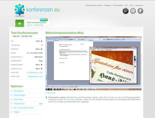 Konferenzen.eu hat sein Angebot um Screen Sharing erweitert (Screenshot: Konferenzen.eu).