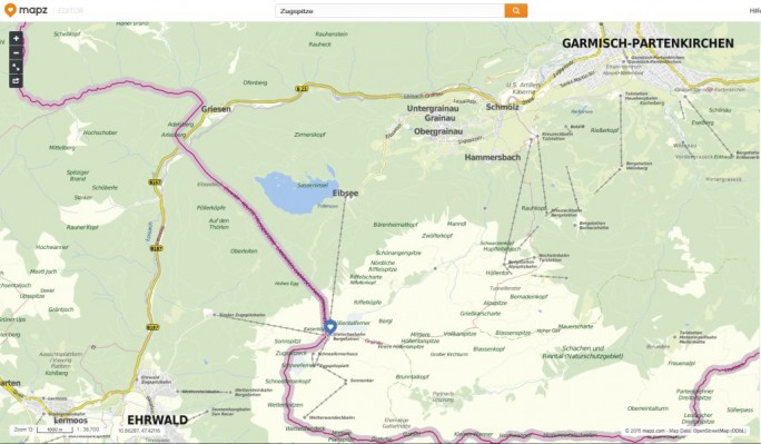 Zugspitzregion bei Mapz.com (Screenshot: ITespresso)