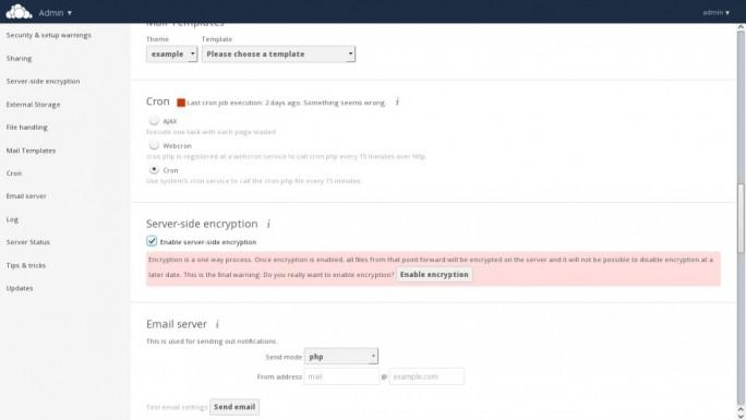 Wesentliche Neuerung bei owncloud 8.1 sind die Verschlüsselungsoptionen (Screenshot: ownCloud)