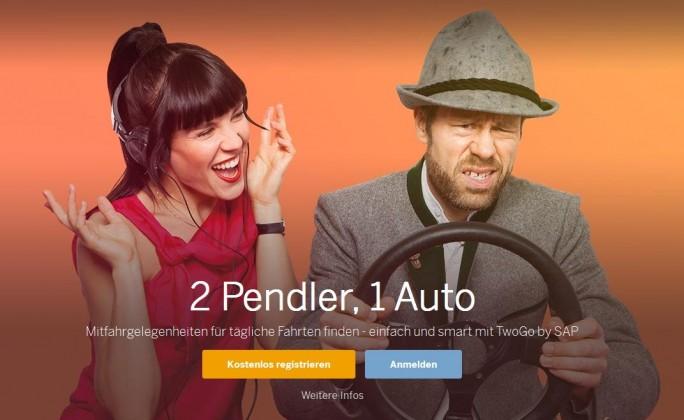 Die Idee hinter dem jetzt von Google erprobten Pendler-Mitfahrservice hatte SAP schon 2011 und der Konzern beweist bei der Bewerbung des TwoGo gennten Dienstes durchaus Humor (Screenshot: ITespresso).