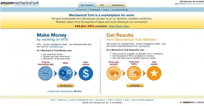 Online-Kaufhaus: Auch Amazon gehört mit Mechanical Turk zu den Crowdworker-Plattformen. (Screenshot: Mehmet Toprak)