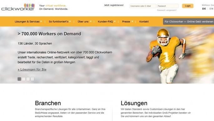 Marktführer: Clickworker ist einer der größten Anbieter und kann nach eigenen Angaben auf 700.000 Mitarbeiter zurückgreifen. (Screenshot: Mehmet Toprak)