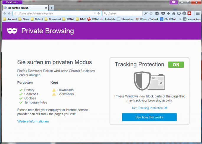 Firefox-Tracking-Protection (Screenshot: ZDNet.de)