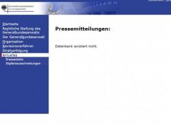 Hacker haben Teile der Bundesanwaltschaft lahmgelegt. Pressemitteilungen können nicht mehr aufgerufen werden (Screenshot: silicon.de).