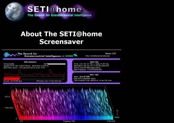 Mutter aller Crowd-Projekte: Seti@Home nutzte die Rechenkapazität von Millionen Privat-PCs, um nach Aliens zu suchen. (Screenshot: Mehmet Toprak)