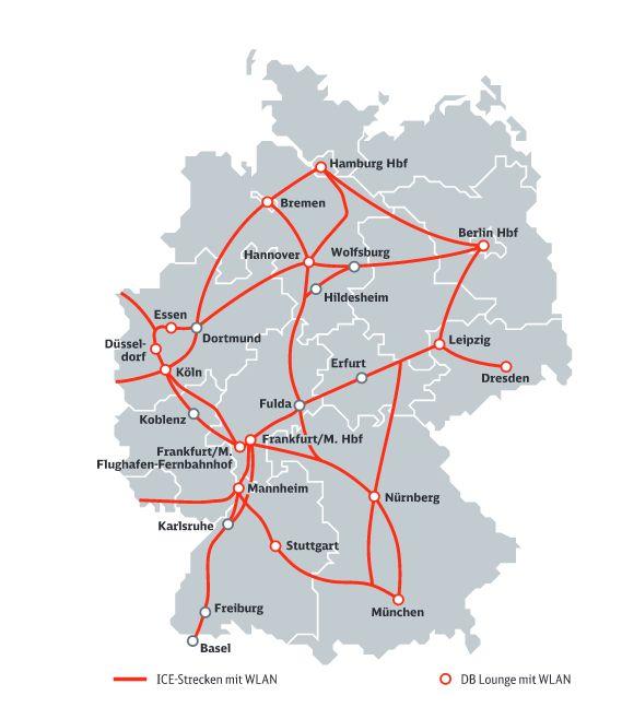 Auf diesen Strecken ist das von der Deutschen Telekom angebotene WLAN in ICE-Zügen verfügbar (Grafik: Deutsche Bahn)