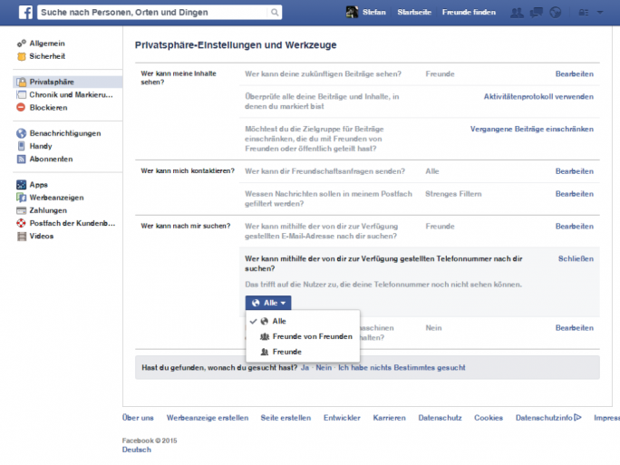 facebook-privatsphaere (Screenshot: ZDNet.de)