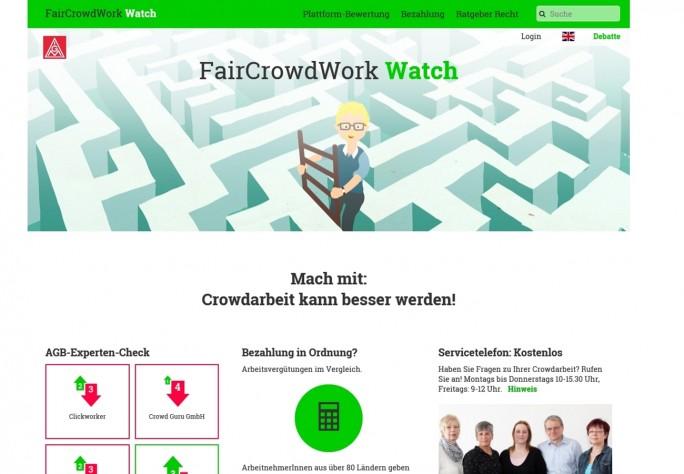 Fair Crowd: Die Seite Faircrowdwork Watch wird von der IG Metall betrieben und ist eine gute Anlaufstelle für alle, die sich über die Arbeitsbedingungen beim Crowdworking informieren wollen. (Screenshot: Mehmet Toprak)