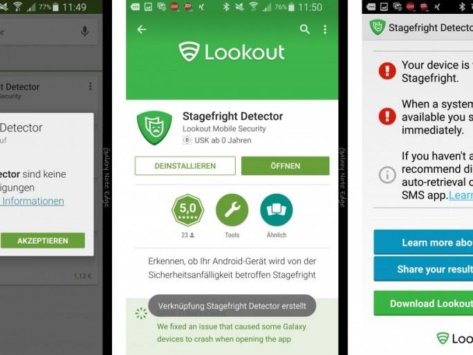 Für den Stagefright Detector sind keine besonderen Berechtigungen erforderlich. Die App zeigt sofort, ob eine Gefahr besteht (Screenshots: CNET.de).