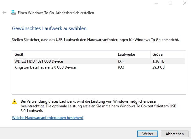 Mit Windows-To-Go können Administratoren ein mobiles Windows 10 Enterprise-System zur Verfügung stellen, dass Anwender auch mobil nutzen können (Screenshot: Thomas Joos).