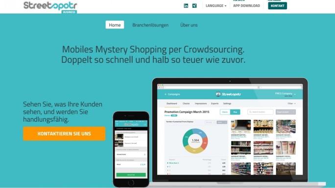 """Für Online-Shops: Streetspotr bietet """"Echtzeit-Einblicke in Kundenerlebnisse im Store, zu Hause und auf der Straße"""". Auf diese Weise können die Anbieter ihre Warenpräsentation überarbeiten. (Screenshot: Mehmet Toprak)"""