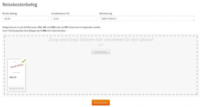 Abb_1 Reisekostenabrechnung - Belege hochladen bei Dienstreise-Online (Bild: stallwanger IT)