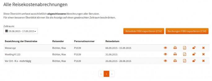 Abb_4 Übersicht über sämtliche abgeschlossenen Reisekostenabrechnungen aller Benutzer (Bild: stallwanger IT)