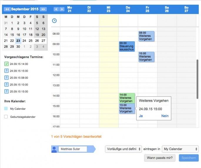 Die Kalenderintegration in Doodle ist nun auch für Nutzer der Gratis-Version verfügbar (Screenshot: Doodle).