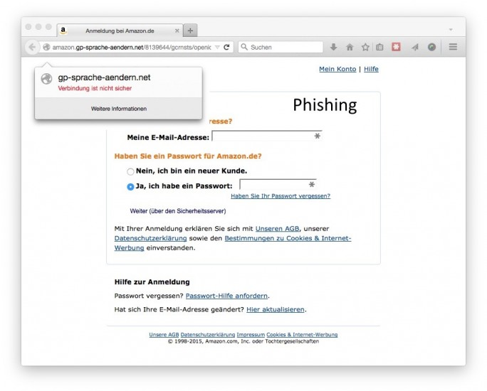 Phishing mit Amazon: Eingabemaske (Screenshot: ZDNet.de)